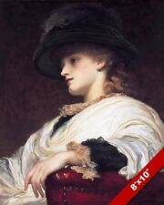 BEAUTIFUL YOUNG WOMAN GIRL IN A BIG HAT 1800'S PAINTING ART REAL CANVAS PRINT