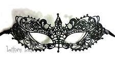 Goth : Masque Dentelle Victorien Loup NOIR Crochet Brodé semi-rigide Gothique 1
