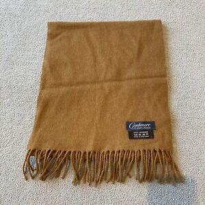 James Meade Mens 100% Cashmere Camel Tan Scarf Made in Scotland