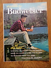 1962 Budweiser Beer Ad -at the LAKE How Lucky can you Get?