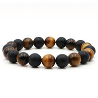 DIY Mens Jewelry 10mm Tiger Eye Natural Stone Love Beads Stretch Bracelet Gift