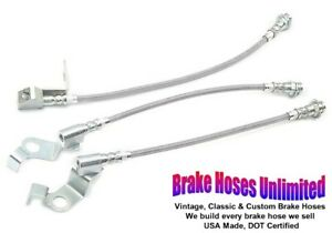 STAINLESS BRAKE HOSE SET Ford Galaxie, Galaxie 500, 1965 1966 - Front Disc