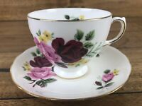Queen Anne 8289 Tea Cup Saucer Set Bone China England Pink Red Rose With Yellow