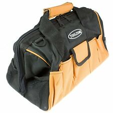 "Quality 28 Pocket 16"" Hard Base Strong Nylon Tool Bag w storage pockets TOOLBAG"