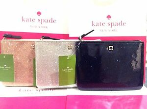 Kate Spade Mavis St Glitter Bug Mini Pouch Silver Price Increase As Of 3/21 NWT