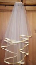 2 Tier White / Ivory Veil With Champagne Satin Trim / FREE POSTAGE.