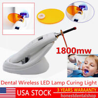 SALE Dental Wireless 1800MW LED Lamp Curing Light With Light Meter White US SHIP
