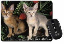 Abyssinian Cats 'Love You Mum' Computer Mouse Mat Christmas Gift Idea, AC-42lymM