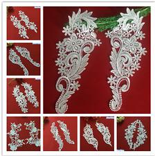 1 Pair wedding White Fabric  Floral Flower Motif Lace Trim Sew Applique Craft