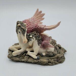 "Westland Pegasus and Colt Horse Figurine Ceramic Figurine Pink Wings 3.5"" tall"