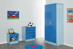 Blue Two Tone Gloss Effect 3 PIECE Bedroom Furniture Set -Wardrobe Chest Bedside