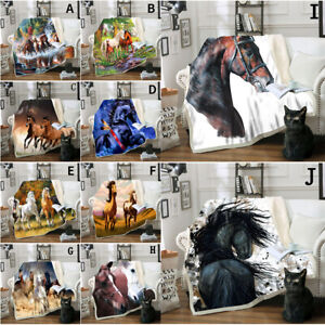 Horse Printed Blanket Flannel Sofa Couch Bedding Queen Blankets Throws Decor
