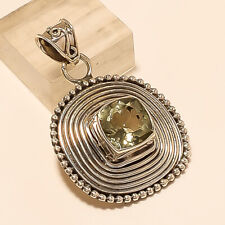 Real Brazilian Green Amethyst Pendant 925 Sterling Silver Christmas Jewelry Gift