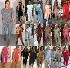 Women Ladies Short Sleeve Boxy V Neck Check Tracksuit Ribbed Loungewear Suit Set