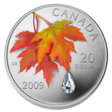 2009 $20 Fine Silver .999 Coin - Swarovski Crystal Raindrop Proof RCM Tax Exempt