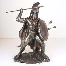 """Leonidas Greek Spartan Warrior King Spear Shield Bronze Figurine Statue 13""""H New"""