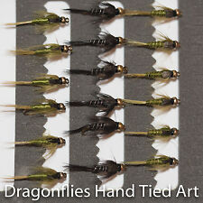 18 Gold Head Olive & Black Nymphs Trout Fly Fishing Flies  by Dragonflies
