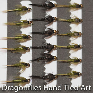 Barbless Gold Head Olive & Black Nymphs x18 Fly Fishing Flies by Dragonflies
