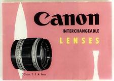 Vintage CANON Interchangeable Lenses Advertising Booklet 5024C