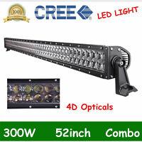4D LENS 52INCH 300W LED WORK LIGHT BAR FLOOD SPOT BOAT OFF ROAD 4X4WD VS 42/50''