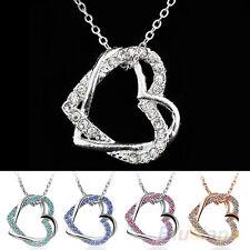 EG_ Encantador Bañado En Plata 2 Corazón De Cristal Collar Con Colgante