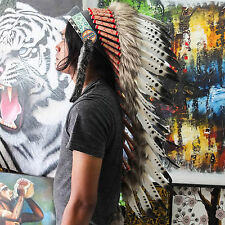 HANDMADE INDIAN HEADDRESS 90CM FEATHERS American chief Costume WARBONNET
