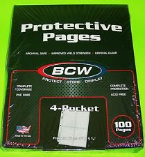 100 BCW PRO 4-POCKET PAGES FOR  PHOTOS, POSTCARDS, COUPONS, ETC, ARCHIVAL SAFE