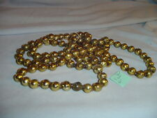 "Mercury Glass Christmas Tree Garland Gold 60"" Long 1/2"" Across Beads Vintage"