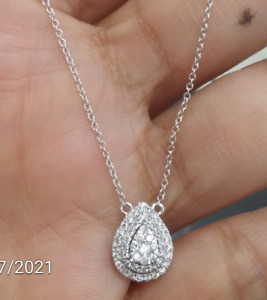 Deal! 0.25CT Genuine Round Cut Diamond Pear Drop Pendant 14K Gold with Chain