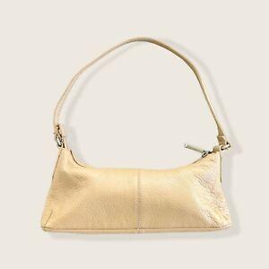 Vintage Y2K 2000s Leather Nude Mini Shoulder Bag Baguette