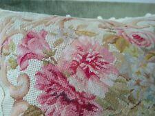 Vintage Needlepoint Pillow / Petit Point / Pink Roses