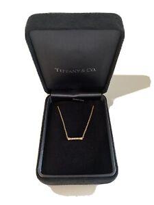 TIFFANY & CO 18CT YELLOW GOLD DIAMOND KEY BAR PENDANT/NECKLACE