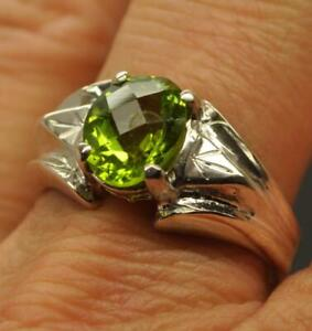 3 CT TOP NOTCH NATURAL PERIDOT STERLING SILVER MENS RETRO RING SIZE 11