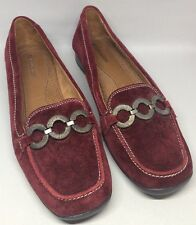 NATURALIZER Casper Red Leather Belted Loafers Shoes 8.5 Medium (B,M) EUC