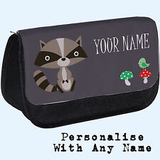 Personalised Woodland Racoon Pencil Case / Makeup Bag. Custom Gift