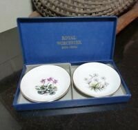 "Ashtray or Pin Dish Royal Worcester 3 7/8"" ALPINE FLOWERS Box set of 2 - Mint"