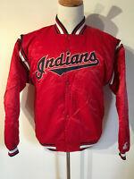 Vintage Starter Satin Jacket Cleveland Indians Baseball 1990's Men Size XL