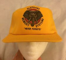 "Elephant Memory Systems ""Never Forgets"" Yellow Trucker Hat Cap Mesh (No Foam)"