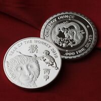 2016 Year of the Monkey  1 oz  .999 Fine Silver Round Bar Bullion  /    G7SB1H3