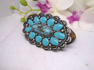 BARRETTE Southwest Indian Turquoise Silver hair clip western wear jewelry CONCHO