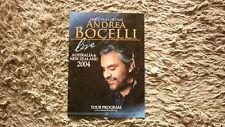 2004 OPERA SINGER ANDREA BOCELLI AUSTRALIAN & NZ TOUR LARGE FORMAT PROGRAM