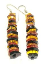 FACETED STACK AMBER DANGLE EARRINGS STERLING SILVER HOOKS WIRES INSECT INCLUSION