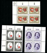 LOT 82552 MINT NH 708-710  PLATE BLOCKS PRINCE EUGENE OF SAVOY - EMBLEM AUSTRIA