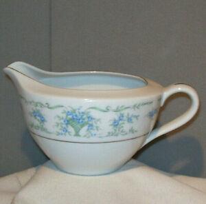 Maytime ROSE DU BARRY Blue Flowers with Green Basket Porcelain Creamer