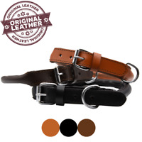 ROLLED LEATHER DOG COLLAR HAND MADE ROUND SOFT GENUINE LEATHER TRAINING STRONG