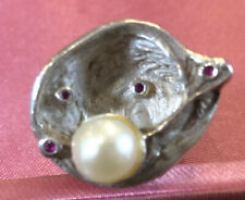 Solid Sterling Silver Real Pearl Statement Ring Oyster Design Set With 4 Rubys