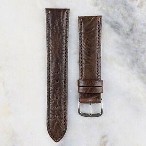 Genuine Calfskin Leather Watch Strap - Dark Brown - 18mm/20mm