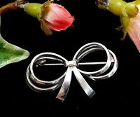 Vintage Sterling Silver Bow Ribbon Brooch
