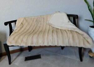 GENUINE REAL CROSS MINK FUR THROW BLANKET COVERLET BLOND IVORY BEIGE CREAM COAT