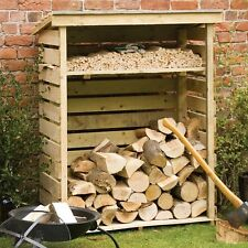 Outdoor Log Storage Garden Fire Dry Wood Shed Patio Logstore Slatted Hard Timber